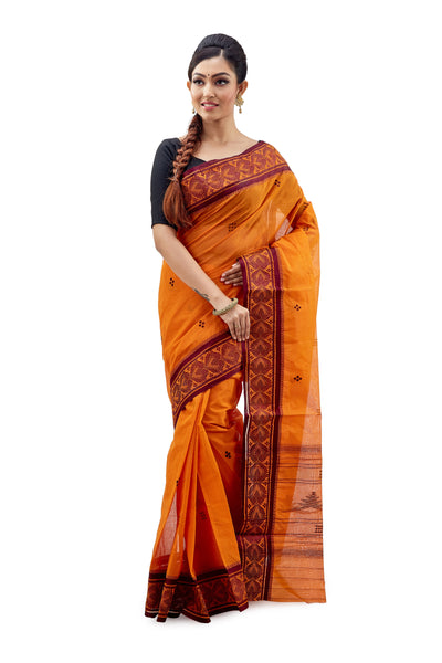 Tangy Orange Dhaniakhali Traditional Tant Saree