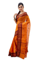 Tangy Orange Dhaniakhali Traditional Tant Saree - Saree