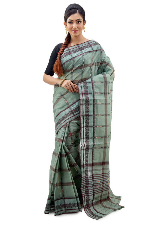 Light Bottle Green Traditional Dhaniakhali Tant Saree - Saree