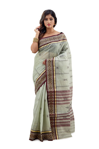 Light Teal Dhaniakhali Traditional Tant Saree