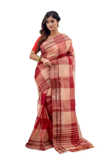 Red & Peach Checked Dhaniakhali Traditional Tant Saree - Saree