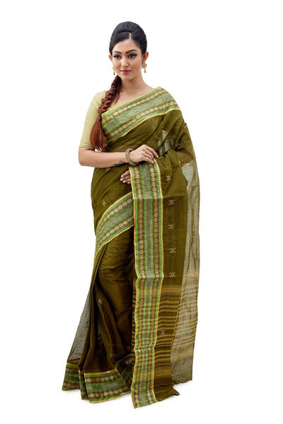 Moss Dhaniakhali Traditional Tant Saree
