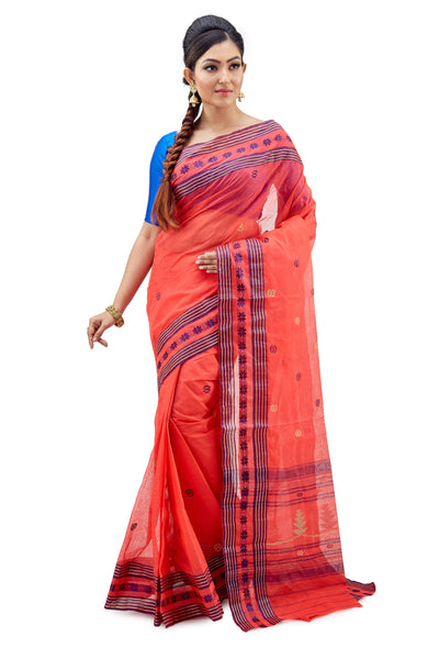 Rossy Red Dhaniakhali Traditional Tant Saree