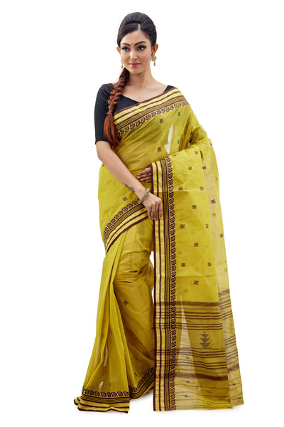 Lime Green Dhaniakhali Traditional Tant Saree