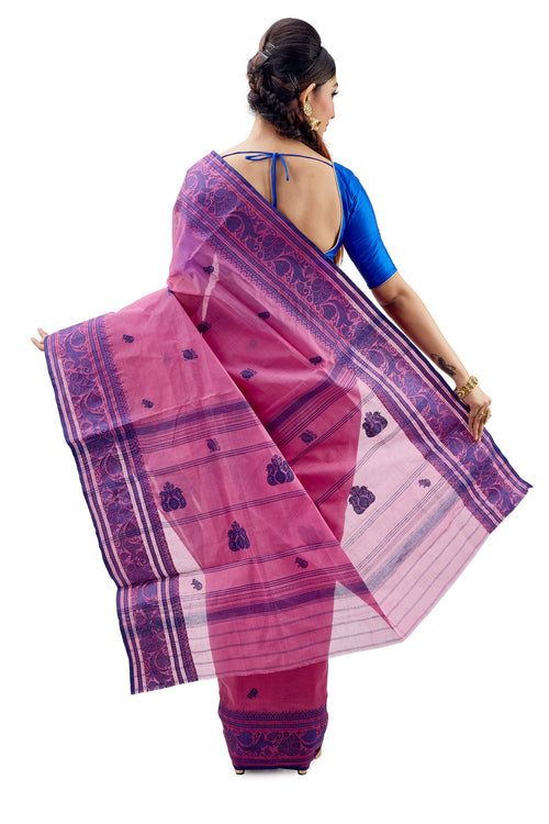 Pink & Blue Traditional Dhaniakhali Tant Saree - Saree
