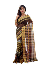 Blackish Brown Traditional Dhaniakhali Tant Saree - Saree