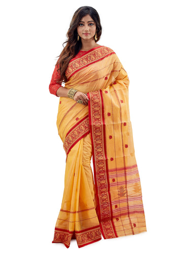 Yellow & Red Traditional Dhaniakhali Tussar Saree