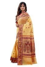 Yellow & Red Traditional Dhaniakhali Tussar Saree - Saree