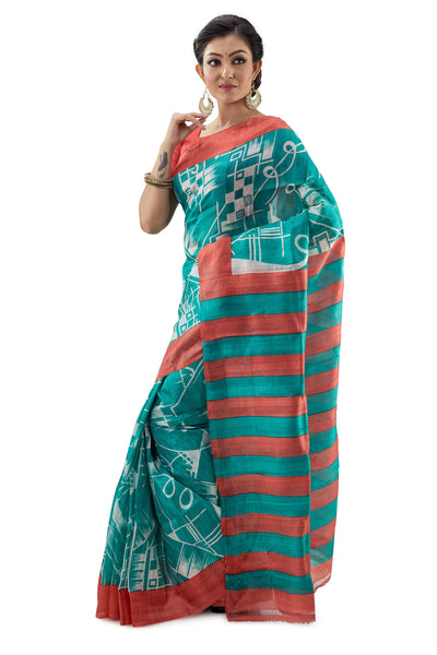 Ocean Green Murshidabadi Pure Silk - Saree