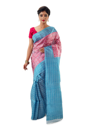 Pink & Sky Blue Murshidabadi Pure Silk - Saree