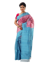 Pink & Sky Blue Murshidabadi Pure Silk
