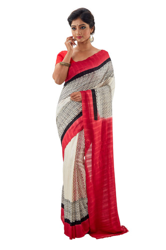 White & Red Murshidabadi Pure Matka Silk - Saree