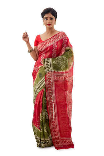 Red and Pickle Green Murshidabadi Pure Silk Saree