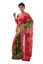 Red And Pickle Green Murshidabadi Pure Silk Saree - Saree