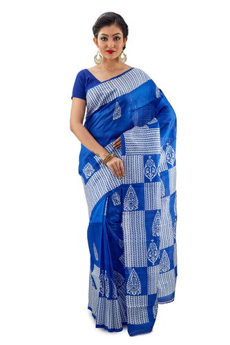 Royal Blue Murshidabadi Pure Silk - Saree