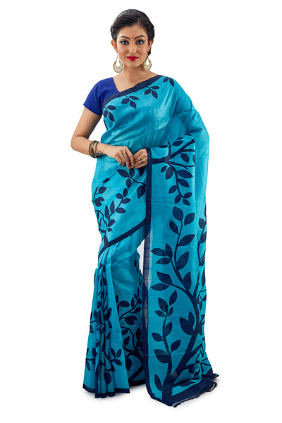 Light Blue leafy Murshidabadi Pure Silk