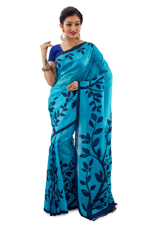 Light Blue Leafy Murshidabadi Pure Silk - Saree