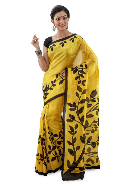 Lemon Yellow Leafy Murshidabadi Pure Silk - Saree