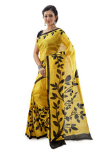 Lemon Yellow Leafy Murshidabadi Pure Silk