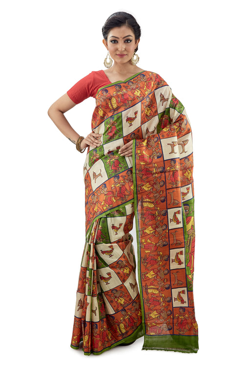Multi-Coloured Box Murshidabadi Pure Silk - Saree