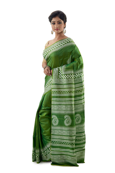 Emerald Green Murshidabadi Pure Silk - Saree