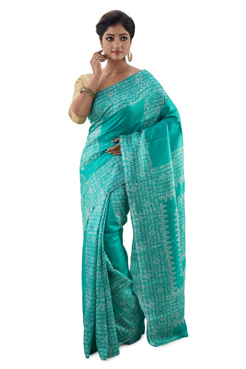 Fern Green Murshidabadi Pure Silk - Saree