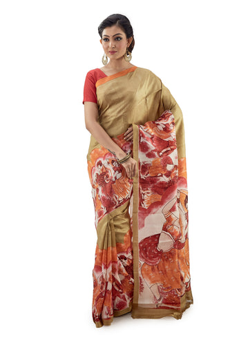 Dark Oyster Coloured Murshidabadi Pure Silk - Saree