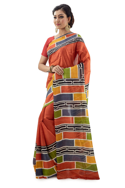 Orange Murshidabadi Pure Silk With Multi-Coloured Box Anchal - Saree