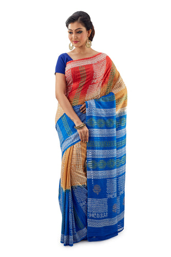 Multi-Coloured Murshidabadi Pure Matka Silk - Saree