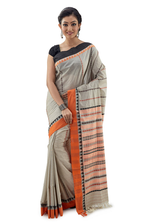 Light Greyish Begumpuri Handloom Designer Saree With Orange-Black Ganga-Jamuna Border - Saree