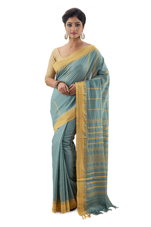 Sage Coloured Begumpuri Handloom Designer Saree - Saree