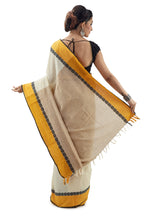 Cream Begumpuri Handloom Designer Saree With Black Piping And Thick Yellow Border - Saree