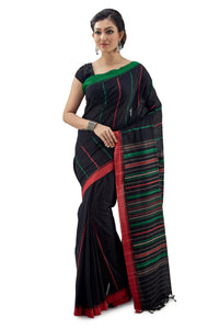 Black Begumpuri Handloom Designer Saree Green-Red Ganga-Jamuna Border - Saree
