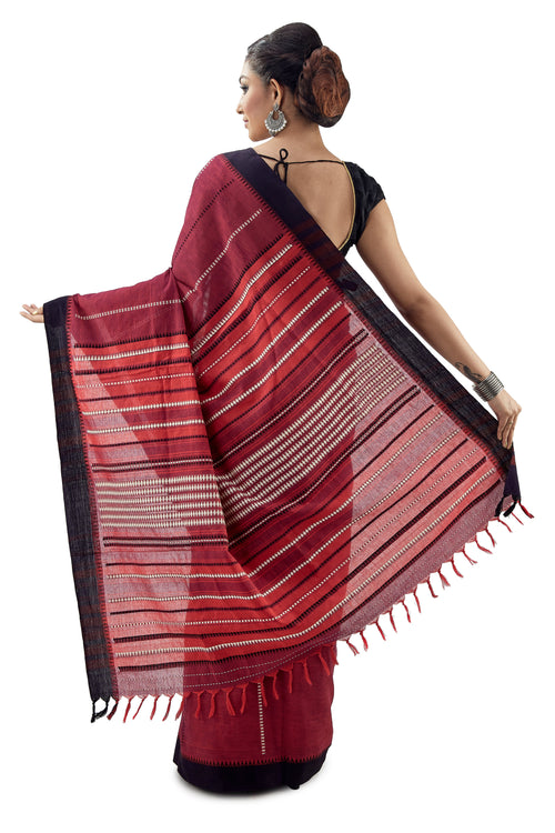 Cherry Begumpuri Handloom Designer Saree With Black Border - Saree