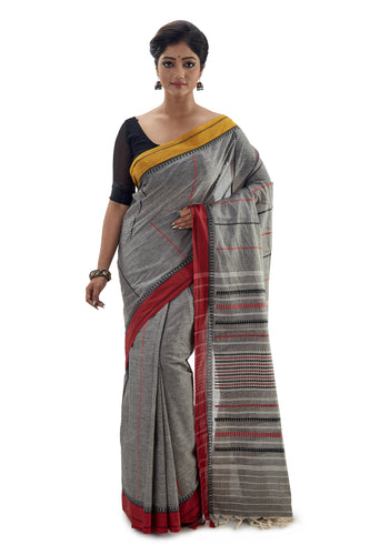 Grey Begumpuri Handloom Designer Saree with Red and Yellow Ganga-Jamuna border