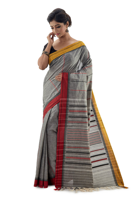 Grey Begumpuri Handloom Designer Saree With Red And Yellow Ganga-Jamuna Border - Saree