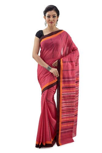 Red Begumpuri Handloom Designer Saree With Brown Border - Saree