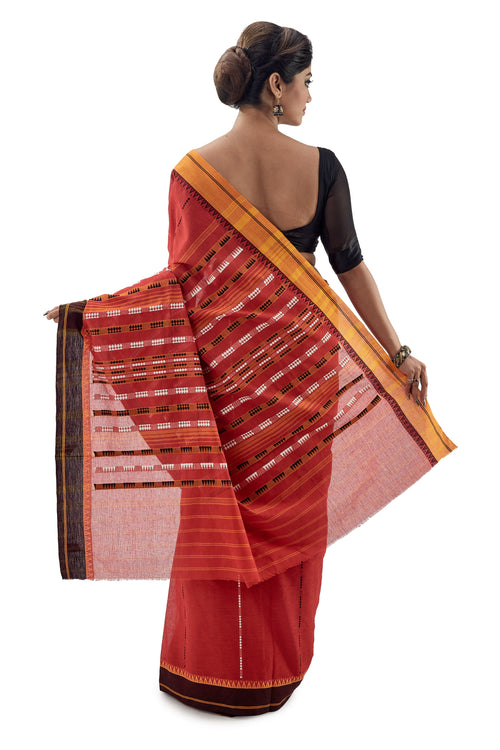 Red Begumpuri Handloom Designer Saree With Orange And Black Ganga-Jamuna Border - Saree