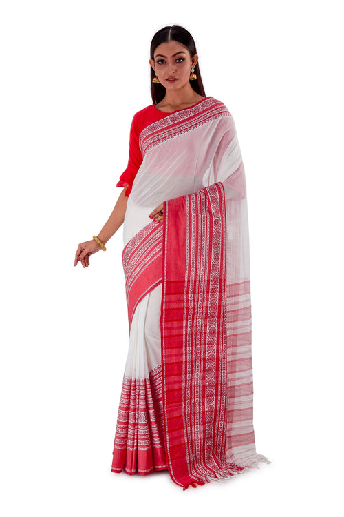 White-base-with-Thick-multicoloured-Border-Designer-Begumpuri-Saree-SNHB1703-2