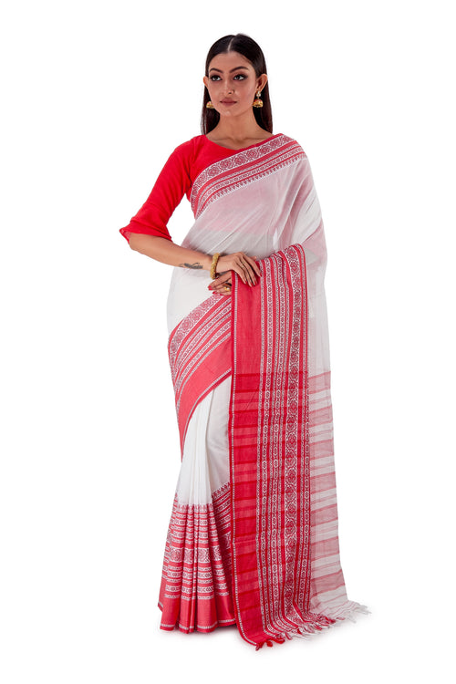 White-base-with-Thick-multicoloured-Border-Designer-Begumpuri-Saree-SNHB1703-1