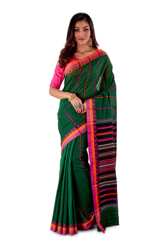 Green-base-with-orange-and-pink-Border-Designer-Begumpuri-Saree-SNHB1704-1