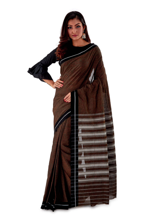 Chocklate-with-black-Border-Designer-Begumpuri-Saree-SNHB1705-2