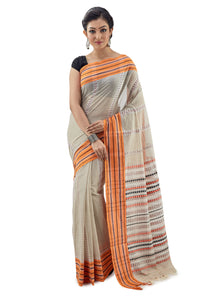 Oyster Begumpuri Handloom Designer Saree With Orange-Black Stripped Border - Saree