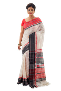 White Begumpuri Handloom Designer Saree With Red-Black Ganga-Jamuna Border - Saree