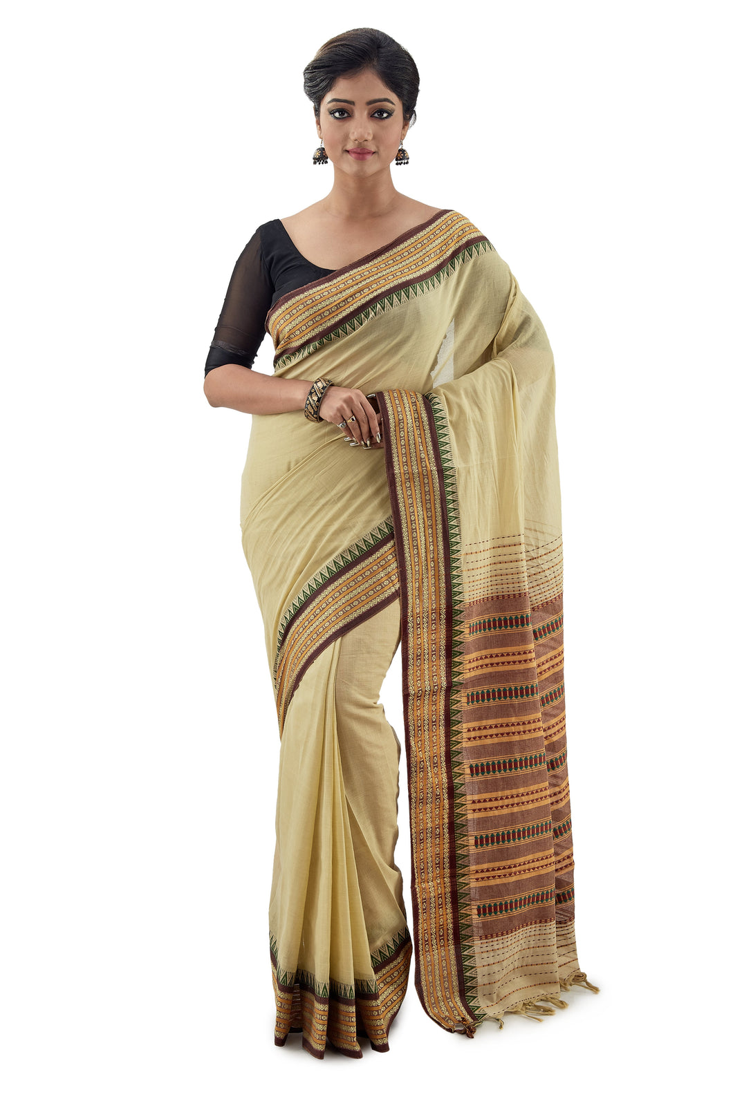 Olive light green Begumpuri Handloom Designer Saree