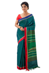 Green Begumpuri Handloom Designer Saree with Red and Blue Ganga-Jamuna border