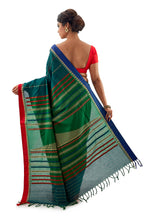 Green Begumpuri Handloom Designer Saree With Red And Blue Ganga-Jamuna Border - Saree