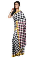 Kantha Stitch On Handloom Khesh Check Saree - Saree