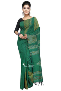 Green Cotton Handloom With Hand Stitched Khesh - Saree