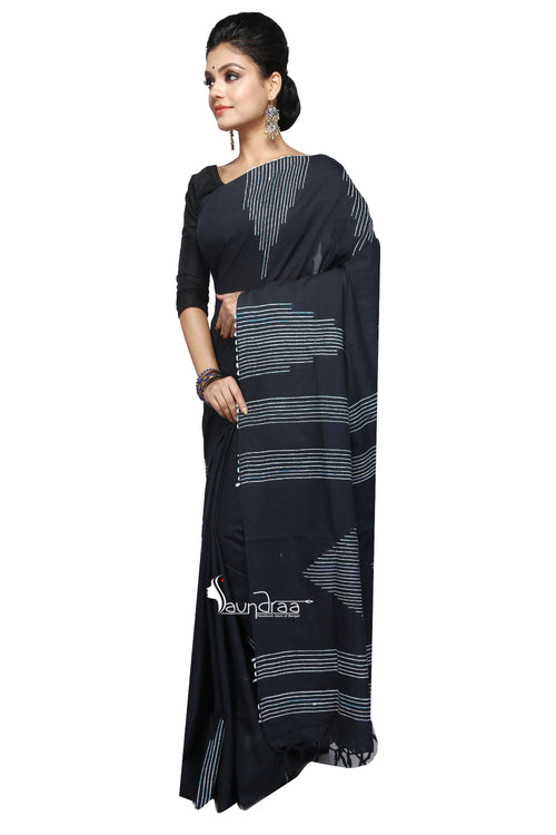 Black Cotton Handloom With Hand-Stitched Khesh - Saree